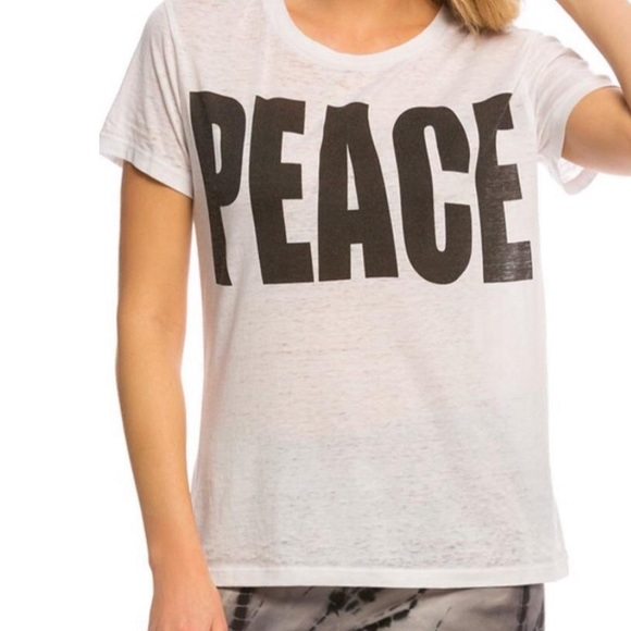 """Chaser """"peace"""" graphic Tee sheer white"""